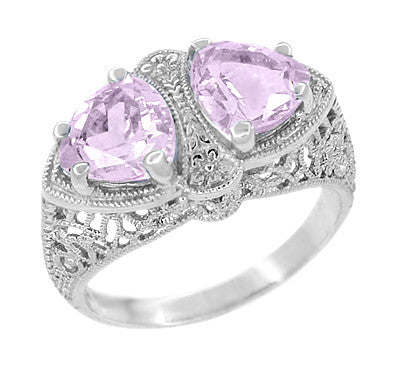 Art Deco Rose de France Amethyst Loving Duo Filigree Ring in 14 Karat White Gold