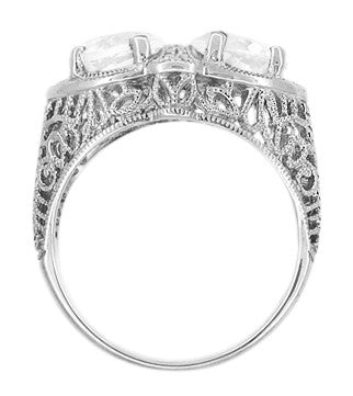 Art Deco Filigree White Topaz Loving Duo Ring in 14 Karat White Gold - Item: R1129WWT - Image: 2