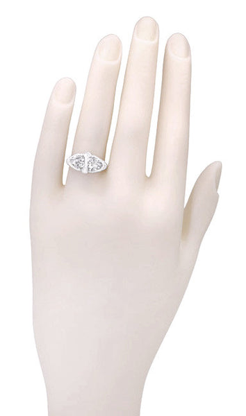 Art Deco Filigree White Topaz Loving Duo Ring in 14 Karat White Gold - Item: R1129WWT - Image: 3