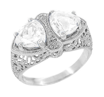 Art Deco Filigree White Topaz Loving Duo Ring in 14 Karat White Gold