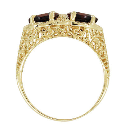 Art Deco Filigree Almandine Garnet Loving Duo Ring in 14K Yellow Gold - Item: R1129YG - Image: 3