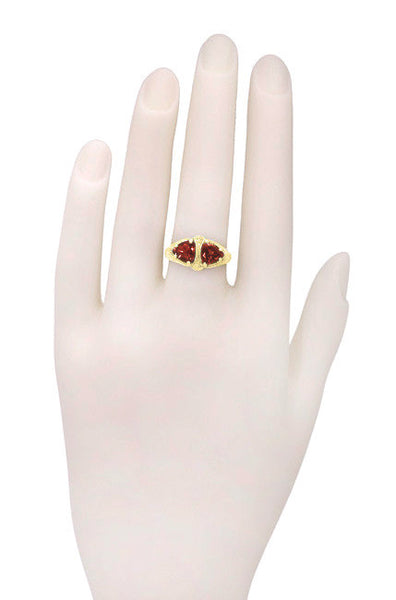 Art Deco Filigree Almandine Garnet Loving Duo Ring in 14K Yellow Gold - Item: R1129YG - Image: 5