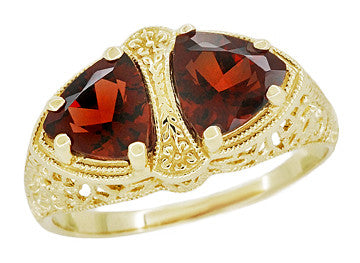 Art Deco Filigree Almandite Garnet Loving Duo Ring in 14K Yellow Gold