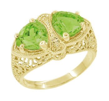 Art Deco Filigree Peridot Loving Duo Ring in 14 Karat Yellow Gold