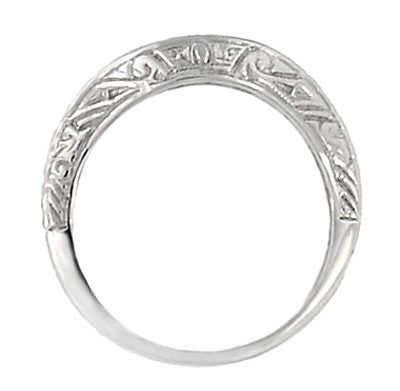 Art Deco Curved Engraved Scrolls Wedding Ring in Platinum - Item: R1137P - Image: 1