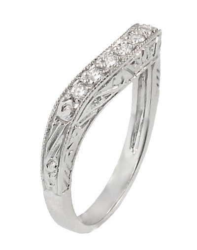 Art Deco Engraved Scrolls Curved Diamond Wedding Ring in Platinum - Item: R1137PD - Image: 2