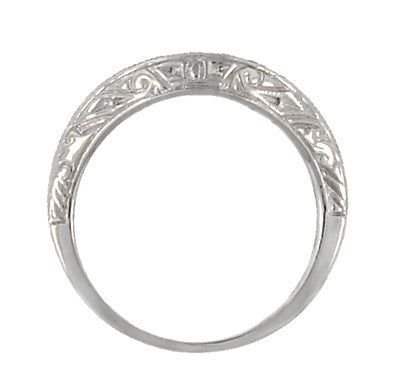 Art Deco Engraved Scrolls Curved Diamond Wedding Ring in Platinum - Item: R1137PD - Image: 4