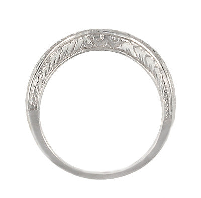 Art Deco Engraved Scrolls Curved Diamond Wedding Ring in Platinum - Item: R1137PD - Image: 5