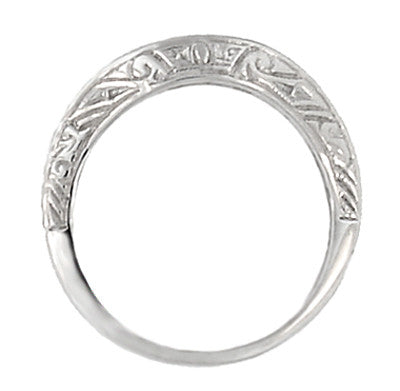Art Deco Curved Engraved Scrolls Wedding Ring in 18 Karat White Gold - Item: R1137W - Image: 2