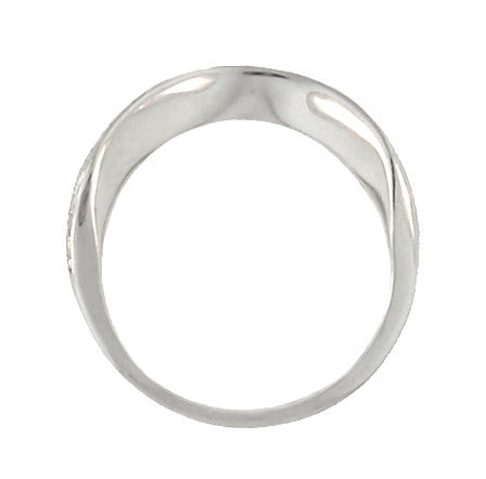 Art Deco Curved Engraved Scrolls Wedding Ring in 18 Karat White Gold - Item: R1137W - Image: 3