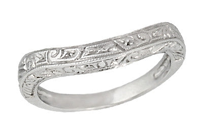 Art Deco Curved Engraved Scrolls Wedding Ring in 18 Karat White Gold