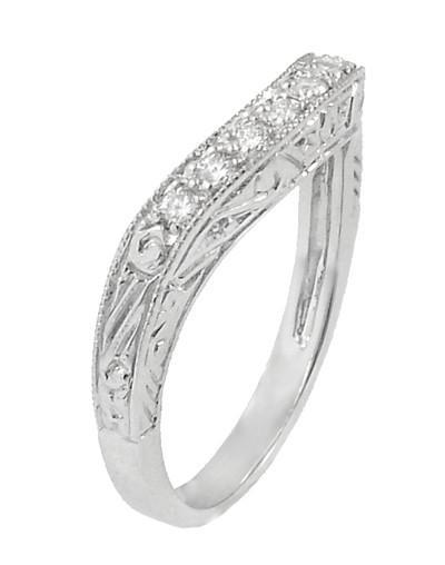 Art Deco Engraved Scrolls Curved Diamond Wedding Ring in 18 Karat White Gold - Item: R1137WD - Image: 2