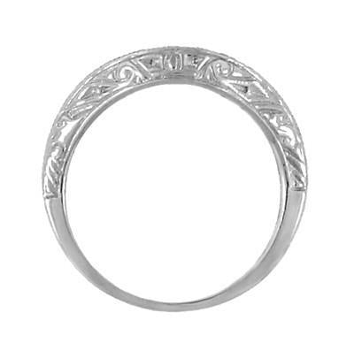 Art Deco Engraved Scrolls Curved Diamond Wedding Ring in 18 Karat White Gold - Item: R1137WD - Image: 4