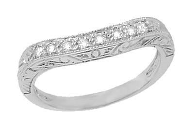 Art Deco Engraved Scrolls Curved Diamond Wedding Ring in 18 Karat White Gold