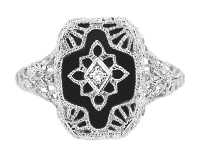 Art Deco 14 Karat White Gold Filigree Onyx and Diamond Ring - Item: R1140 - Image: 2