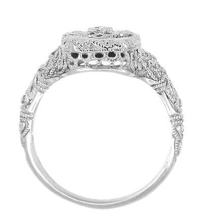 Art Deco 14 Karat White Gold Filigree Onyx and Diamond Ring - Item: R1140 - Image: 1
