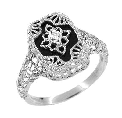 Art Deco 14 Karat White Gold Filigree Onyx and Diamond Ring