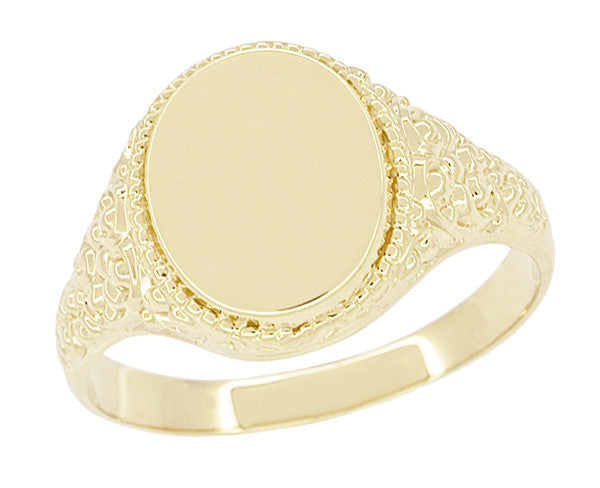 Engraved Scrolls Oval Victorian Signet Ring in 14 Karat Yellow Gold