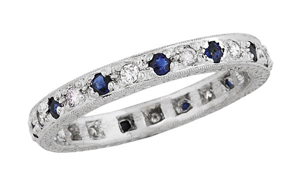 Art Deco Eternity Vintage Blue Sapphire and Diamond Wedding Band in Platinum