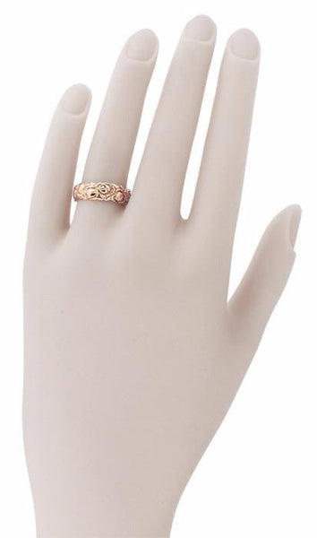 Retro Carved Roses 14 Karat Rose Gold Wedding Band - 6.3mm Wide - Item: R1144R - Image: 2