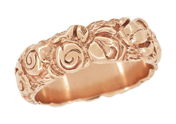 Retro Engraved Roses 14 Karat Rose ( Pink ) Gold Wedding Band - 6.3mm Wide