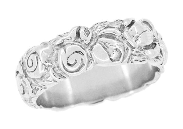 Engraved Roses Retro Wedding Ring in 14 Karat White Gold