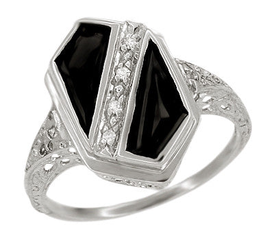 Art Deco Black Onyx and Diamond Shield Filigree Ring in 14 Karat White Gold