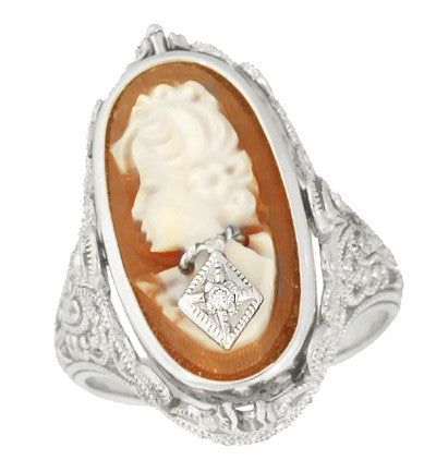 Edwardian Filigree Flip Ring with Carnelian Shell Cameo, Black Onyx and Diamonds in 14 Karat White Gold