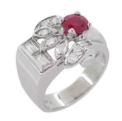 Antique Retro Moderne Ruby Ring in 14 Karat White Gold - Item: R1148 - Image: 3
