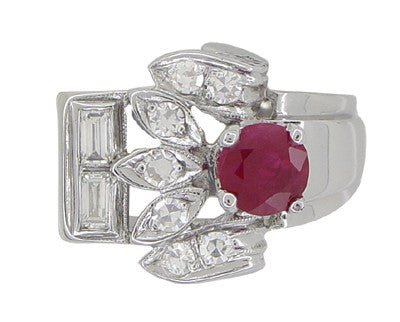 Antique Retro Moderne Ruby Ring in 14 Karat White Gold - Item: R1148 - Image: 1