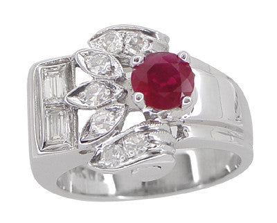 Antique Retro Moderne Ruby Ring in 14 Karat White Gold