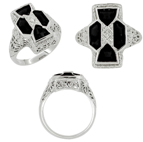 Art Deco Filigree Happy Family 4 Stone Black Onyx and Diamond Filigree Ring in 14 Karat White Gold - Item: R1150on - Image: 1