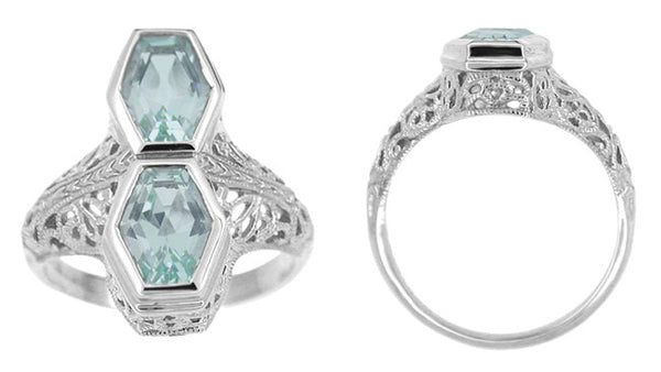 Love Duet Blue Topaz Filigree Ring in 14 Karat White Gold - Item: R1151BT - Image: 1