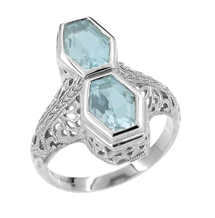 Love Duet Blue Topaz Filigree Ring in 14 Karat White Gold