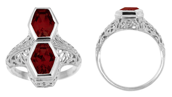 Love Duet Almandite Garnet Filigree Ring in 14 Karat White Gold - Item: R1151G - Image: 1