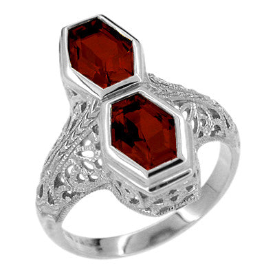 Love Duet Almandite Garnet Filigree Ring in 14 Karat White Gold