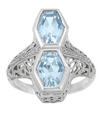 Loving Duo Filigree 2 Stone Blue Topaz Vintage Statement Ring Design in Sterling Silver | Art Deco - Item: R1151SBT - Image: 1