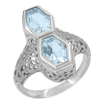 Loving Duo Filigree 2 Stone Blue Topaz Vintage Statement Ring Design in Sterling Silver | Art Deco