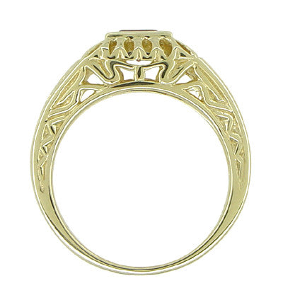 Art Deco Egyptian Motif Filigree Garnet Ring in 14 Karat Yellow Gold - Item: R1152 - Image: 3
