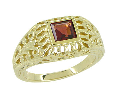 Art Deco Egyptian Motif Filigree Garnet Ring in 14 Karat Yellow Gold - Item: R1152 - Image: 1