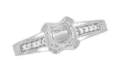 X & O Kisses 1/2 Carat Diamond Engagement Ring Setting in Platinum - Item: R1153P50 - Image: 4