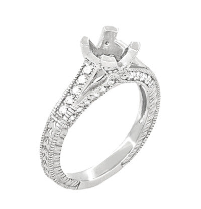 X & O Kisses 1/2 Carat Diamond Engagement Ring Setting in Platinum - Item: R1153P50 - Image: 1