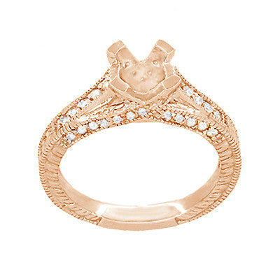 X & O Kisses 14K Rose Gold 1 Carat Diamond Engagement Ring Setting - Item: R1153R1 - Image: 3
