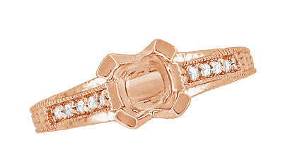 X & O Kisses 14K Rose Gold 1 Carat Diamond Engagement Ring Setting - Item: R1153R1 - Image: 4