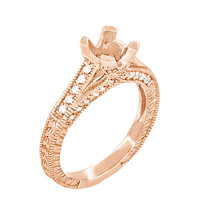 X & O Kisses 14K Rose Gold 1 Carat Diamond Engagement Ring Setting - Item: R1153R1 - Image: 1