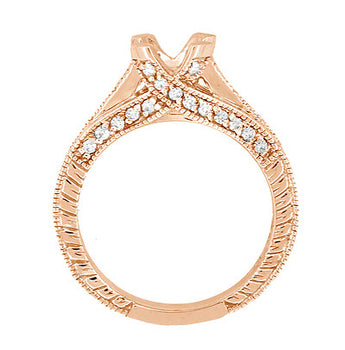 X & O Kisses 1/2 Carat Diamond Engagement Ring Setting in 14 Karat Rose Gold