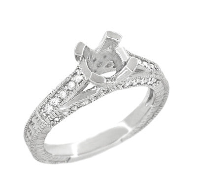 X & O Kisses 1 Carat Diamond Engagement Ring Setting in 18 Karat White Gold - Item: R1153W1 - Image: 2