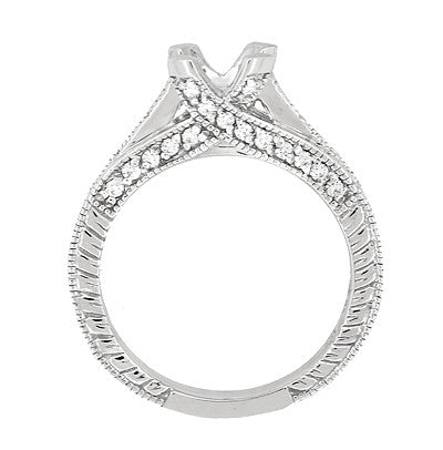 X & O Kisses 1 Carat Diamond Engagement Ring Setting in 18 Karat White Gold