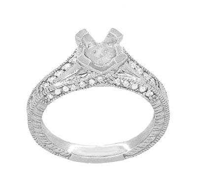 X & O Kisses 3/4 Carat Diamond Engagement Ring Setting in 18 Karat White Gold - Item: R1153W75 - Image: 3