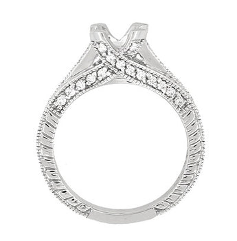 X & O Kisses 3/4 Carat Diamond Engagement Ring Setting in 18 Karat White Gold